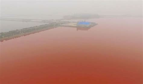 Video shows China's Dead Sea in Yuncheng turned blood red