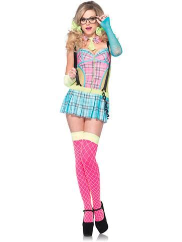 Day Glow School Girl - Adult Costume | Party Delights