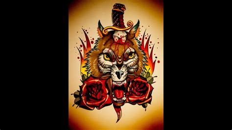 How to draw an Old School Wolf, roses and dagger Tattoo